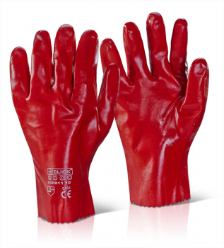 Red PVC Waterproof Gauntlet Gloves 11inch - 18inch Overall Length