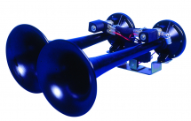 Diesel Train Air Horn with Twin Black Trumpets 24Volt