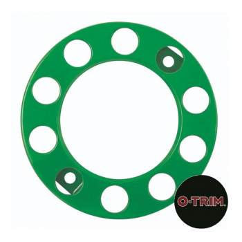 Pair 10 Stud Nut Ring in Green. 335mm PCD for Steel Wheels
