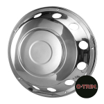 "Pair 22.5"" Stainless Steel Standard Scandinavian Style Wheel Trims - Fronts"