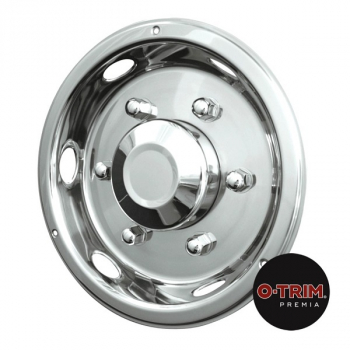 Pair 17.5Inch Stainless Steel Deluxe Style Wheel Trims - Rear