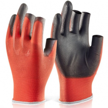Pair Fingerless PU Coated work glove - Size 10