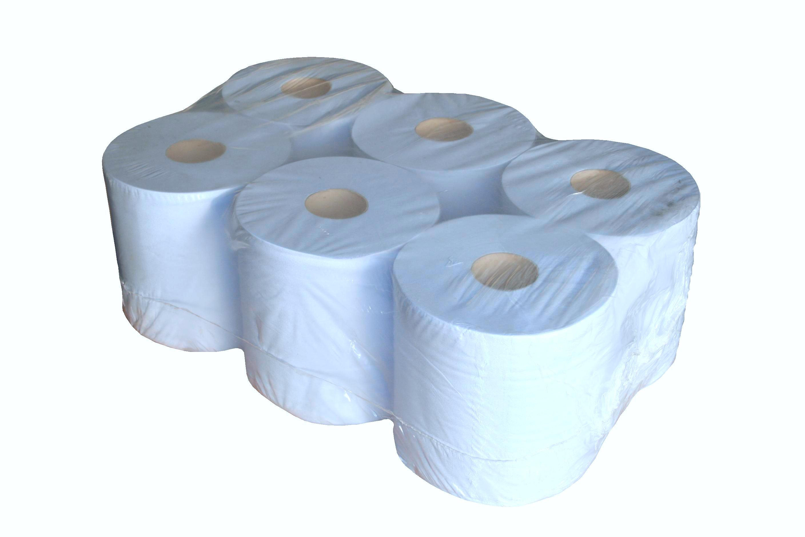 PK 6 Blue Paper Rolls Single Ply 300m x 200mm